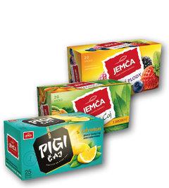 Čaj Pigi černý s citronem, zelený broskev, ovocný lesní plody