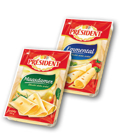 Président 45% Maasdamer plátky, Emmental plátky