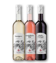 Špaček Sauvignon jakostní suché víno, Zweigeltrebe Rosé jakostní suché víno, Modrý Portugal jakostní suché víno