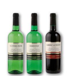 """""""B"""" Veltlínské zelené, """"B"""" Chardonnay, """"B"""" Cabernet Sauvignon"""