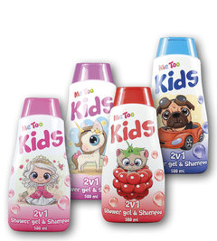Me Too 2v1 sprchový gel a šampon Princess, Magic Unicorn, Racing Bulldog, Raspberry Kitten