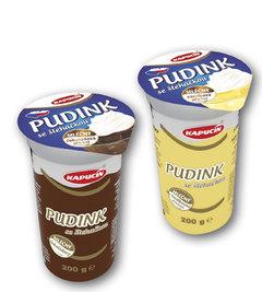 Kapucín pudink se šlehačkou čokoládový, s vanilkovou příchutí