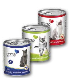 Peko kousky v omáčce pro kočky rybí, drůbeží, hovězí