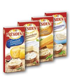 Président tavený sýr emmental, camembert, čedar, smetana