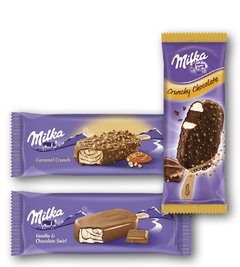 Milka Stick crunchy čoko, Caramel Crunch, Vanilla, Ballcone