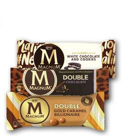 Magnum Double Caramel Gold Billionaire, Chocolate, Magnum White Chocolate & Cookies
