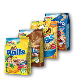 Choco Balls cereálie čokoládové, Shells cereálie čokoládové, Honey Rings cereálie medové, Magic cereálie se skořicí