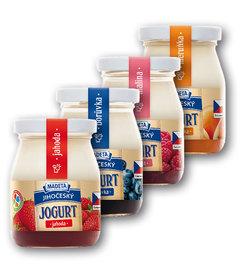 Jihočeský jogurt 2,5% ve skle jahoda, borůvka, malina, meruňka