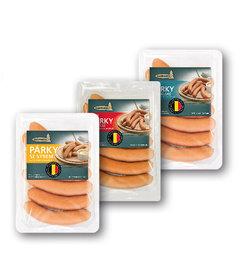 Minipárky se sýrem obsah vepřového a hovězího masa 75%, sýr 10% balené, s chilli obsah vepřového a hovězího masa 85% balené, bru